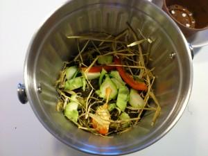 Den første ladning grønt og brunt i kompostbeholderen