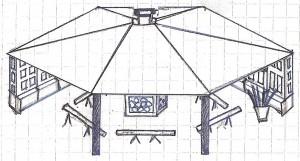 Pavillonen set med tag.